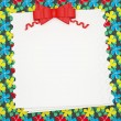 Vintage wedding (holiday) paper background with red bow. — Stock Photo #10610420