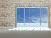 Empty new apartment with big window — Stock Photo