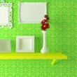 Modern interior composition, yellow shelf with vase and frames - Photo