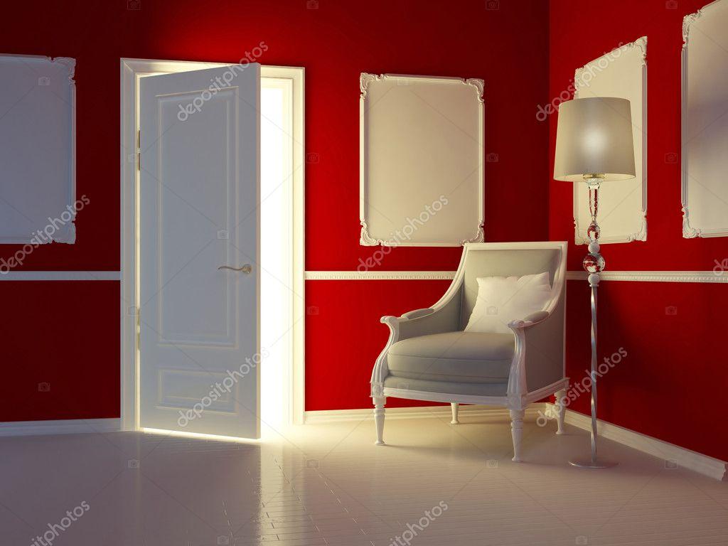 Klassieke rode interieur, luxe appartement met klassieke fauteuil ...