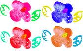 Aquarel handgeschilderde set van bloemen. — Stockfoto