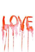 Handgeschilderde achtergrond met liefde tekst. — Stockfoto