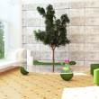Modern interior design scene with a tree inside — Stock Photo