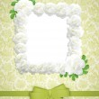 Vintage green wedding frame with roses. — Stock Photo
