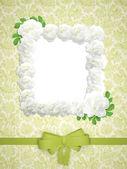 Wesele zielony rama z różami. — Zdjęcie stockowe
