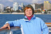Woman on the cruise ship — Stock Photo