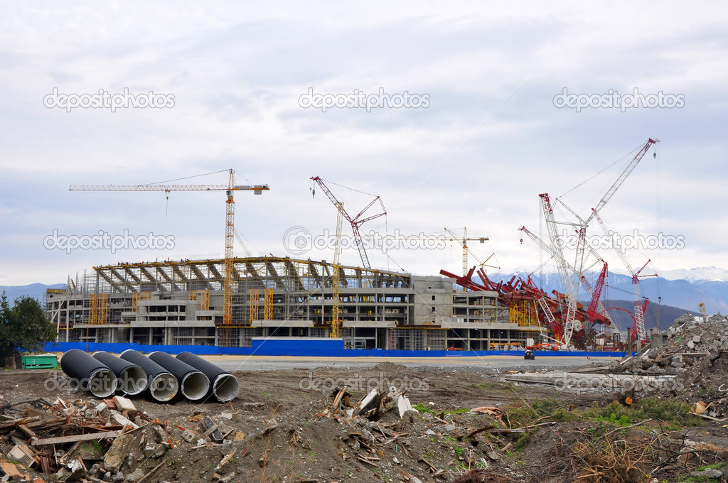 Construction of the main stadium in the Olympic Park in January 8, 2012 Sochi, Russia for the Winter Olympic Games 2014 and World Cup 2018 — Stock Photo #9922578