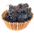 Black grapes in a basket — 图库照片