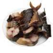 Smoked mackerel in plate on white background — 图库照片 #10247114