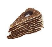 Pedaço de bolo de chocolate cheio de creme isolado — Foto Stock