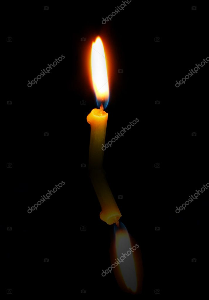 Church Candle with a reflection on a black background — Stock Photo #10242829