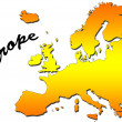 Europe map filled with orange gradient. Mercator projection. - Stock Photo
