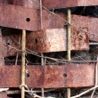 Stock Photo: Rusty Metal background. Ripped corrosion wall