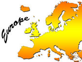 Europe map filled with orange gradient. Mercator projection. — Stock Photo