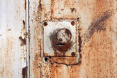 Old padlock on garage collars — Stock Photo