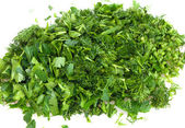 Cut dill and parsley — Stock Photo
