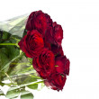 Beautiful red roses on a white background with space for copy. — Stock Photo #9008449