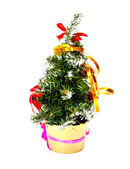 Decorated christmas fir tree isolated on white — Stock Photo