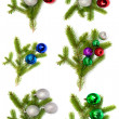 Stock Photo: Firry twig and toys (color spheres).