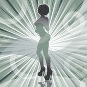 Sexy afro woman silhouette with ray background — Stock Vector