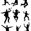 Jumping silhouettes with happiness expression — Stock Vector