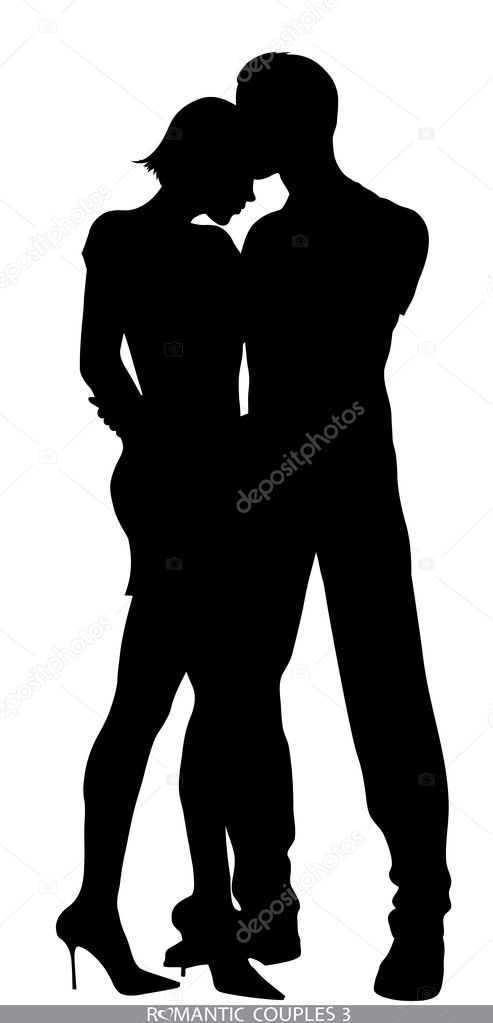Silhouettes of romantic couples isolated on white,in portfolio you can find the variations — Stock Vector #8458387