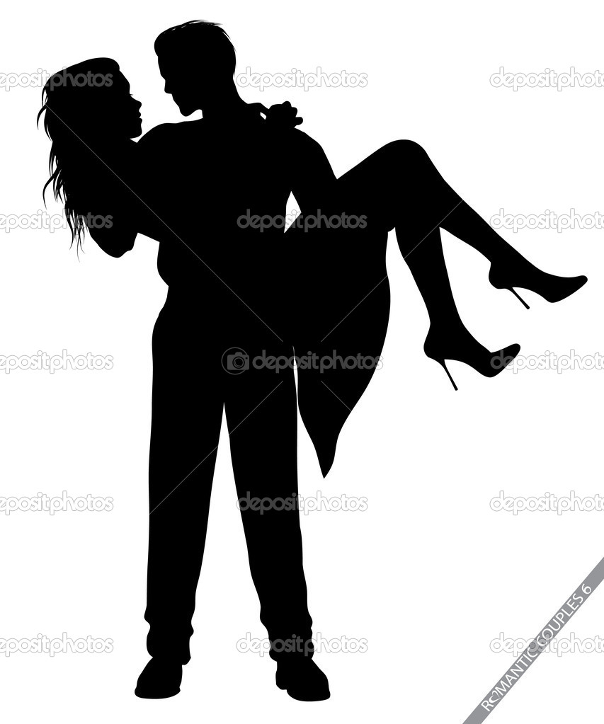 Silhouettes of romantic couples isolated on white,in portfolio you can find the variations — Stok Vektör #8458398