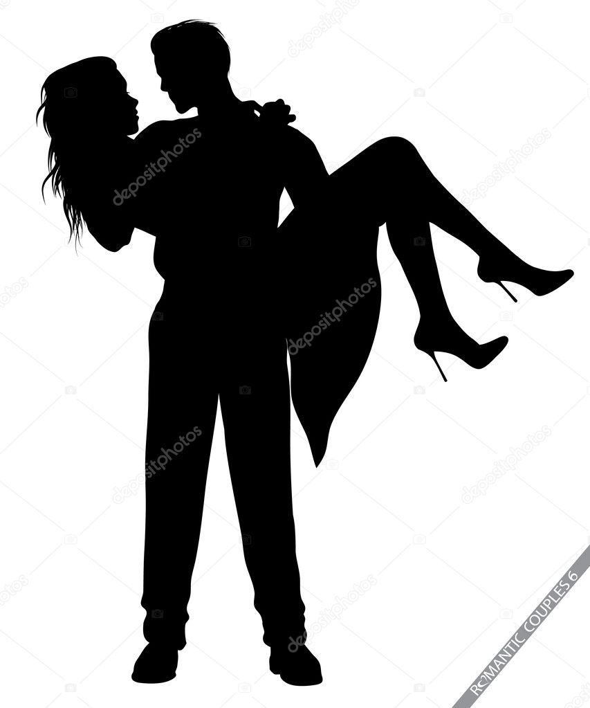 Silhouettes of romantic couples isolated on white,in portfolio you can find the variations — ベクター素材ストック #8458398