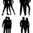 Couple silhouettes — Stock Vector