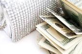 Dollar bills with luxury handbag detail — Stock Photo