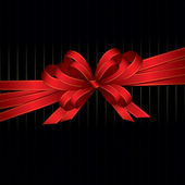 Red ribbon and bow background — Vector de stock