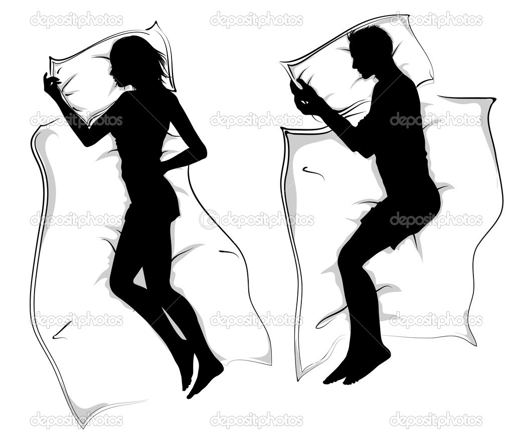 silhouettes femme et hommes couch dans le lit de couchage image vectorielle illustrart. Black Bedroom Furniture Sets. Home Design Ideas