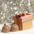 Christmas gift box with christmas balls — Stock Photo