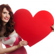 Valentines Day. Woman holding Valentines Day heart sign with cop — Stock Photo #8086893