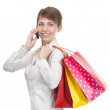 Beautiful shopping woman happy holding shopping bags. — Stock Photo