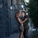 Romantic photo of a hugging couple — Stock Photo