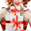 Young happy woman with a gift — Stock Photo #9193440