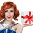 Young happy woman with a gift — Stock Photo #9193442