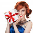 Young happy woman with a gift — Stock Photo #9193446