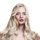 Beautiful Blonde Girl. Healthy Long Curly Hair. — Stok fotoğraf