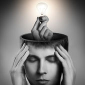 Conceptual image of a open minded man — Stock Photo
