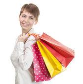 Beautiful shopping woman happy holding shopping bags. — Stock Photo