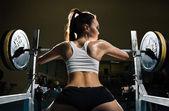 Mulher sexy desportiva em ginástica — Foto Stock
