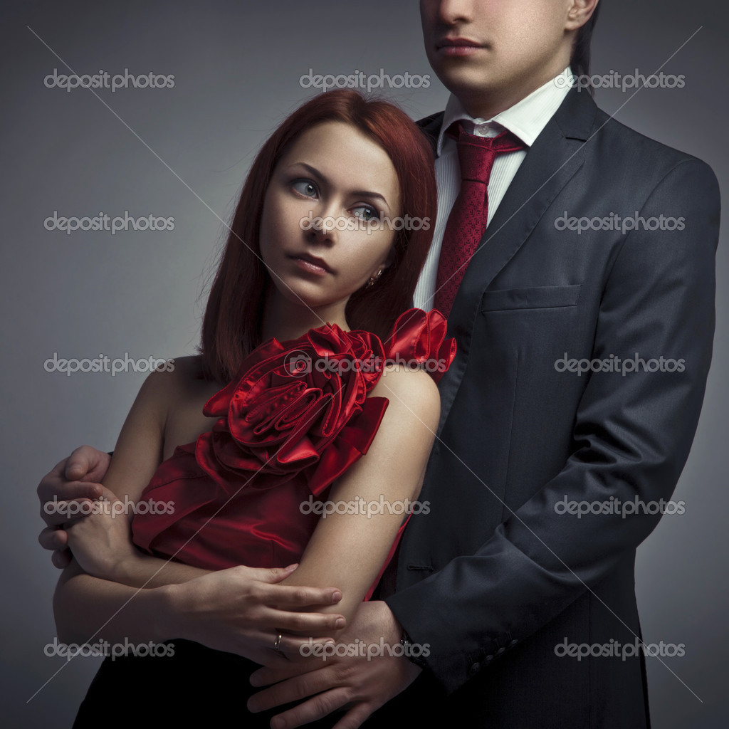 Portrait of young elegant couples in the tender passion — Stock Photo #9193247