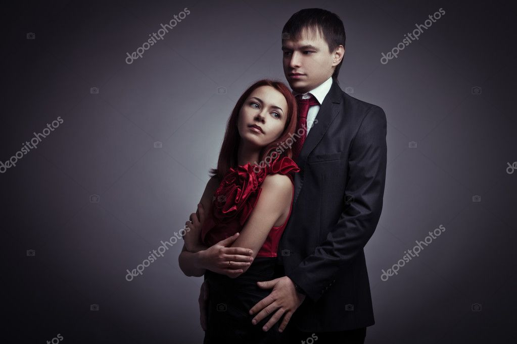 Portrait of young elegant couples in the tender passion — Stock Photo #9193252