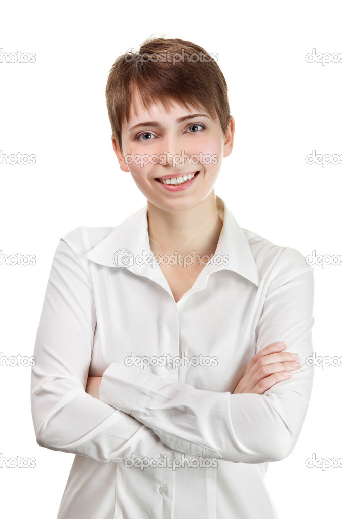 Thinking business woman smiling. Beautiful young professional isolated on white background.  Stock Photo #9193301