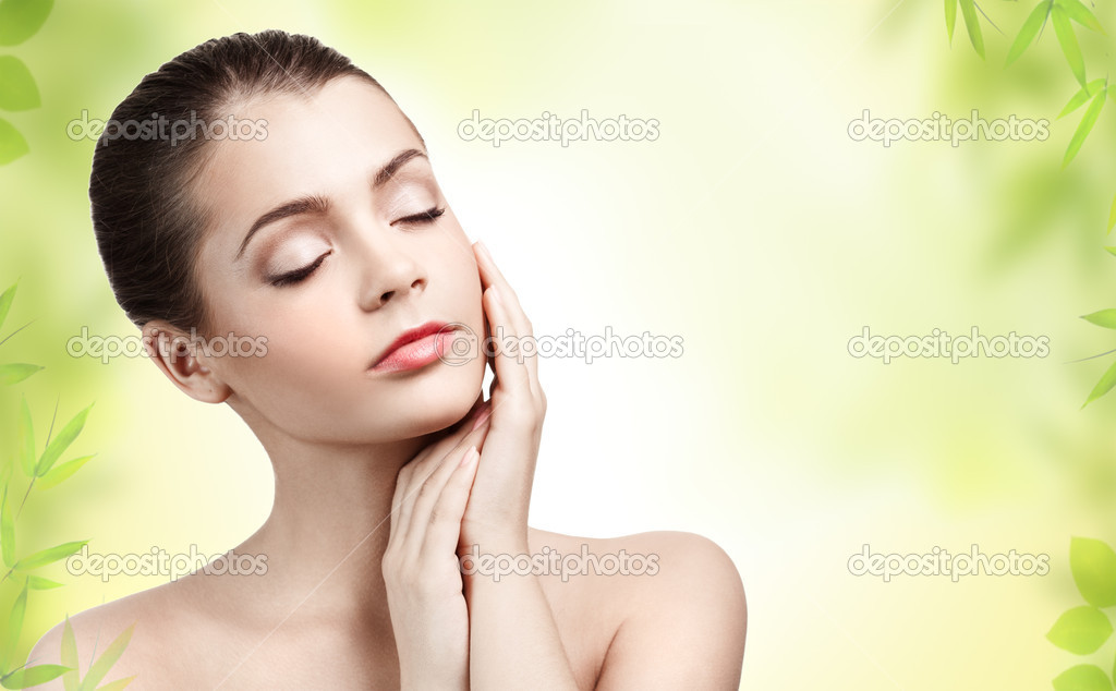 Beautiful young woman with clean skin  Stock Photo #9193377