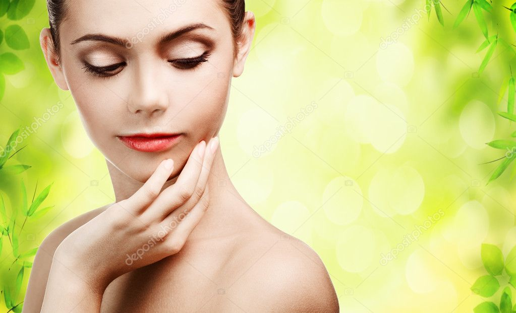 Beautiful young woman with clean skin  Stock Photo #9193432