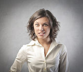 Young businesswoman with perplexed expression — Stock Photo