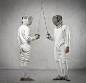 Couple of fencers before the match — Stock Photo